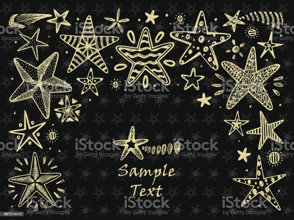 Ilustración de Marco De Estrellas Dibujado A Mano Doodle Estrellas Y ...
