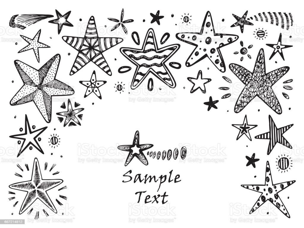 Marco De Estrellas Dibujado A Mano Doodle Estrellas Y Cometas ...