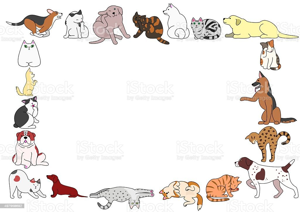 frame of various dogs and cats postures vector art illustration