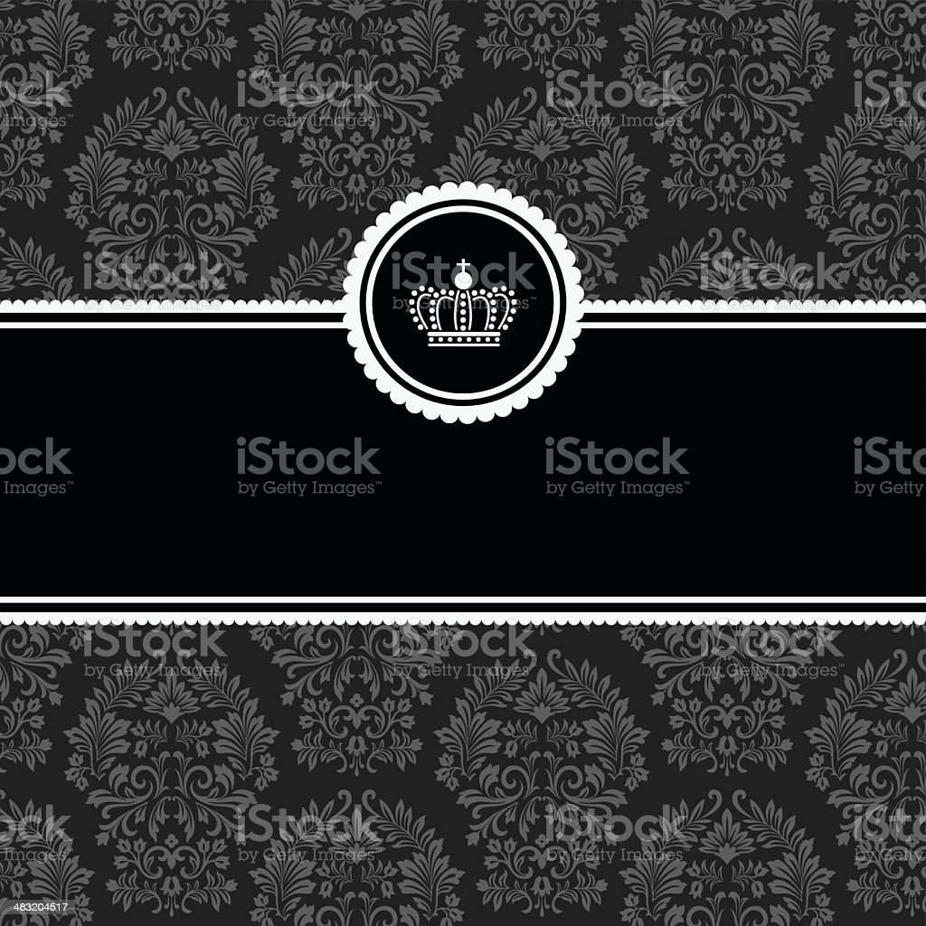 Frame on black-and-gray seamless Damask fabric royalty-free frame on blackandgray seamless damask fabric stock vector art & more images of announcement message