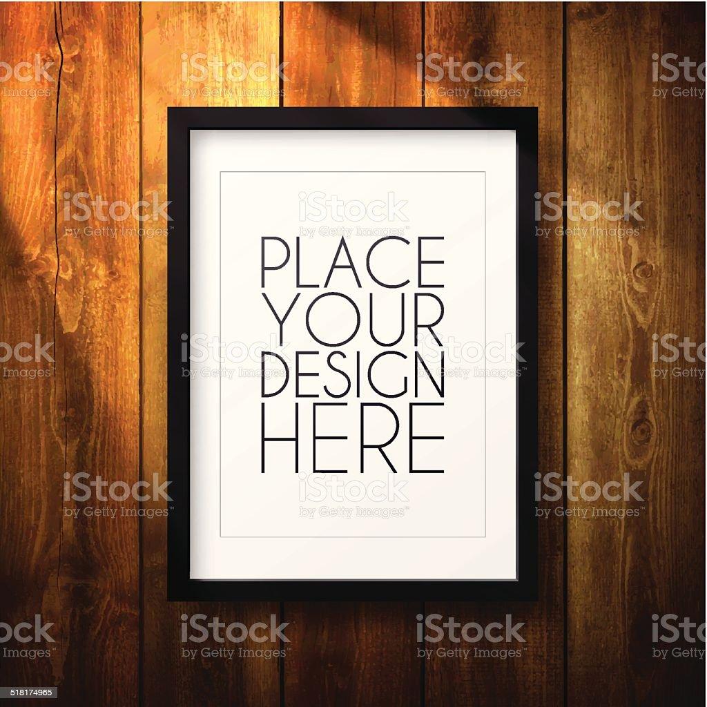Frame on wooden Wall vector art illustration