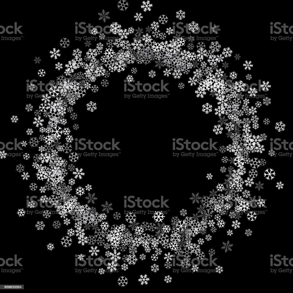 Marco o frontera de copos de nieve de dispersión al azar - arte vectorial de Borde libre de derechos