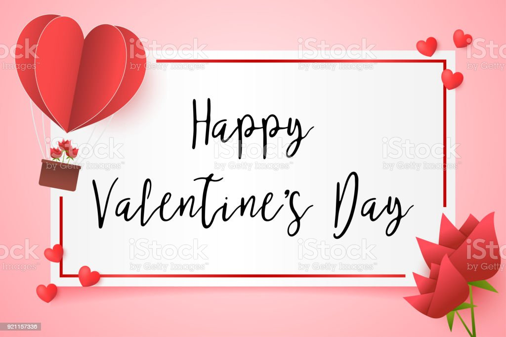 Frame Paper Style Love Of Valentine Day Heart Balloon Flying With ...