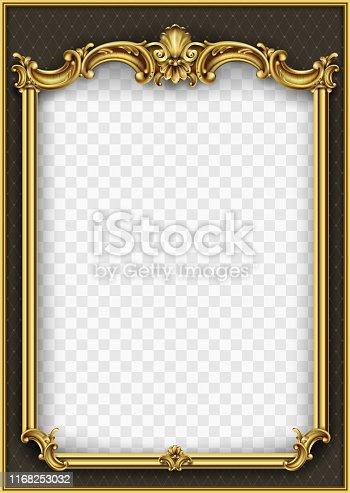 istock Frame postcard cover gold baroque rococo 1168253032