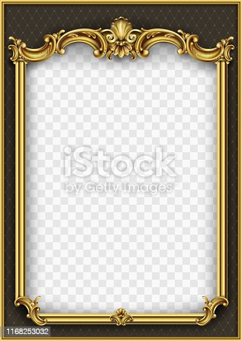 Frame postcard cover gold baroque rococo. Vector blank template design. Classic vintage vignette