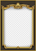 Frame postcard cover gold baroque rococo. Vector blank template design. Classic vintage vignette