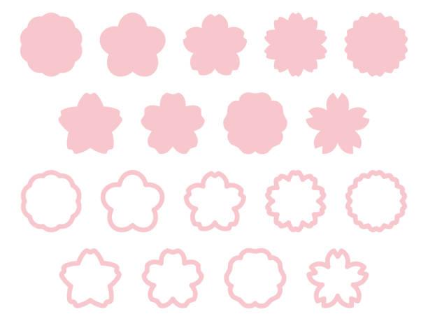 ilustrações de stock, clip art, desenhos animados e ícones de frame set of flower image cherry blossoms - cherry blossoms