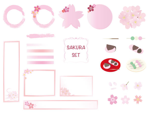 Frame set with cherry blossom and Japanese sweets icons. vector art illustration