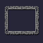 frame silver color with shadow on blue background