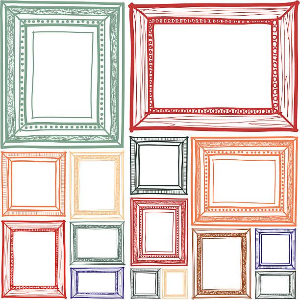 ilustraciones, imágenes clip art, dibujos animados e iconos de stock de bastidor sketchbook - bordes de marcos de fotografías