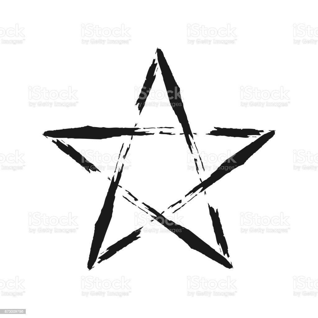 çerçeve Yıldız Bir Fırça Ile Boyalı Grunge Stok Vektör Sanatı Boya