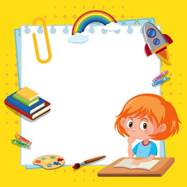 Rahmen-Vorlage-Design mit Mädchen lesen Buch – Vektorgrafik