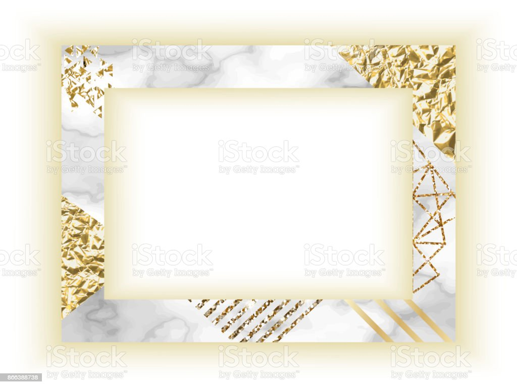 Frame Template Golden Texture With Border Marble Business Card Or ...