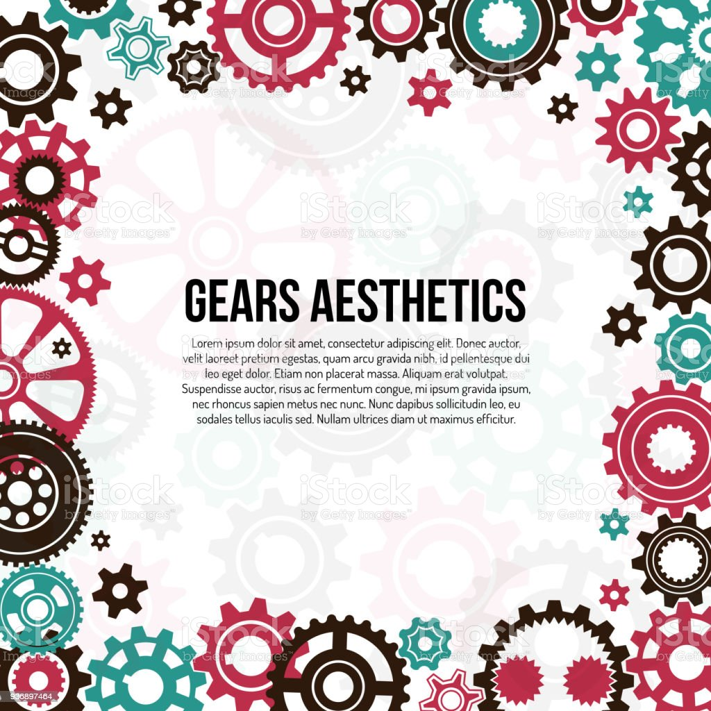 frame template of colored gears and cogwheels stock vector art