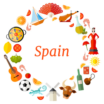 Frame template of Spanish symbols. Vector wreath.
