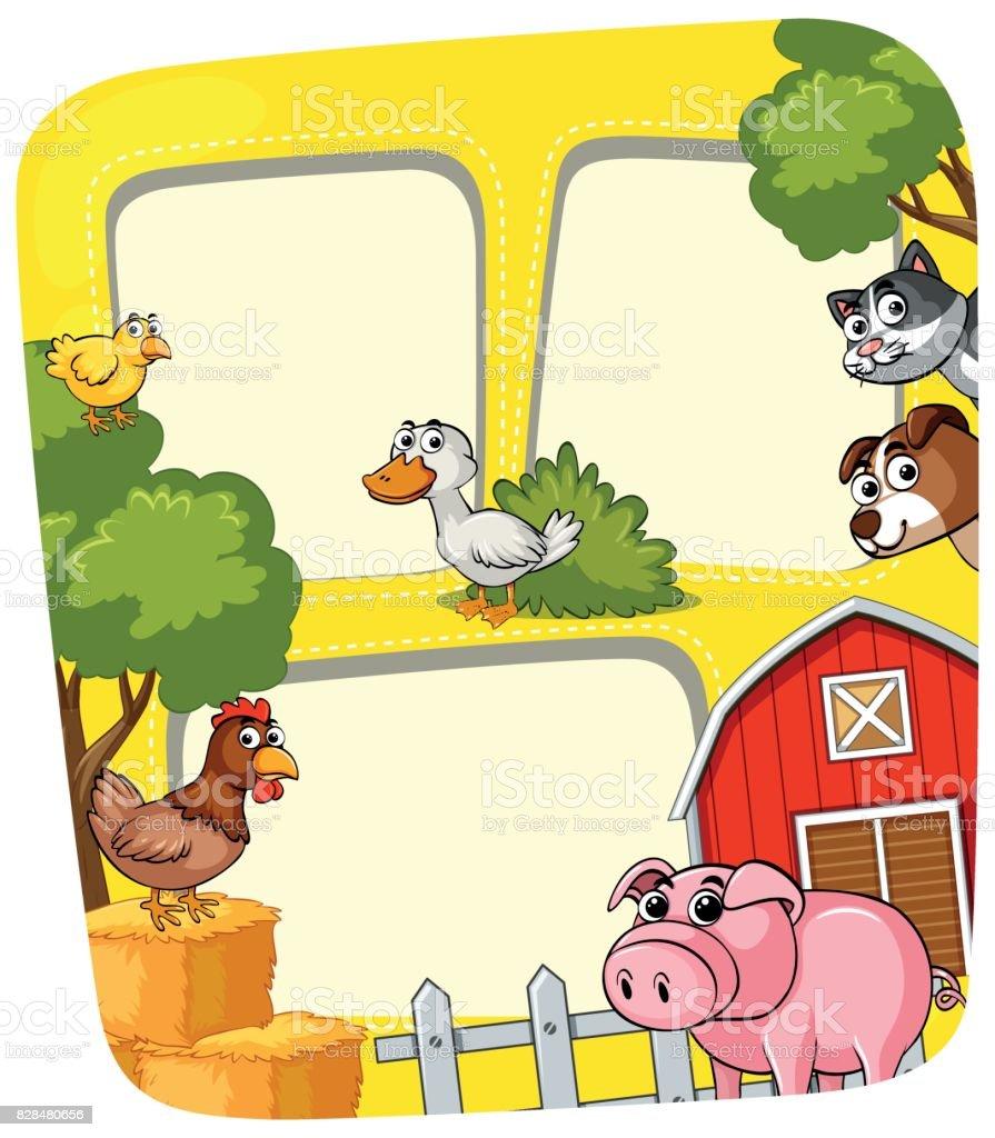 Ilustración de Plantilla De Marco Con Animales En La Granja y más ...