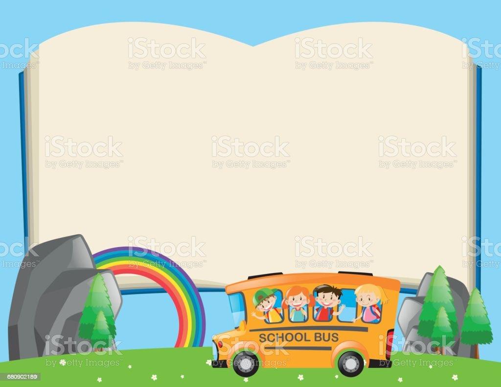 Ilustración de Plantilla Del Bastidor Con Los Niños En Autobús ...