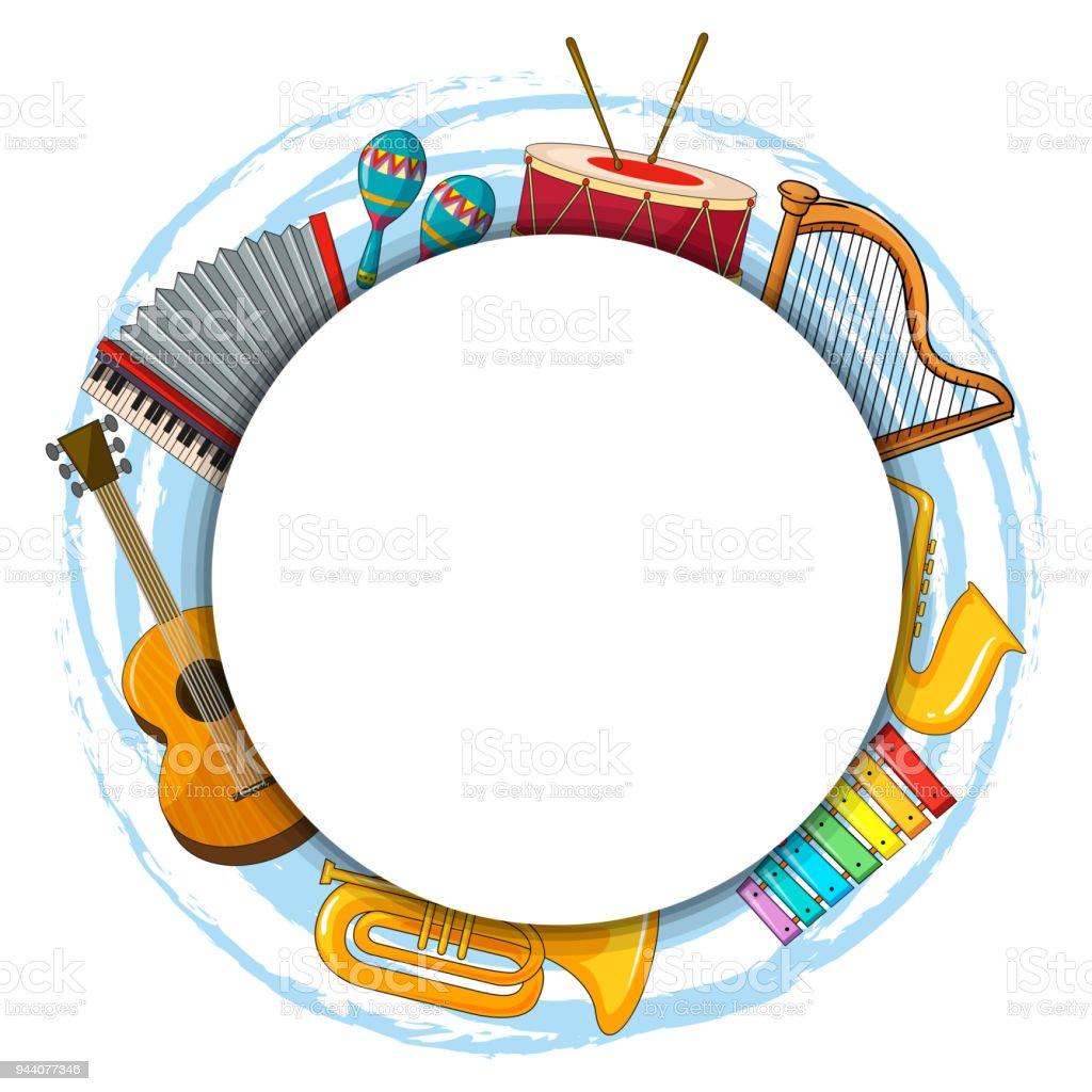 Ilustración de Plantilla De Marco Con Instrumentos Musicales y más ...