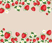 Frame template with strawberries, leafs and flowers. Vector background