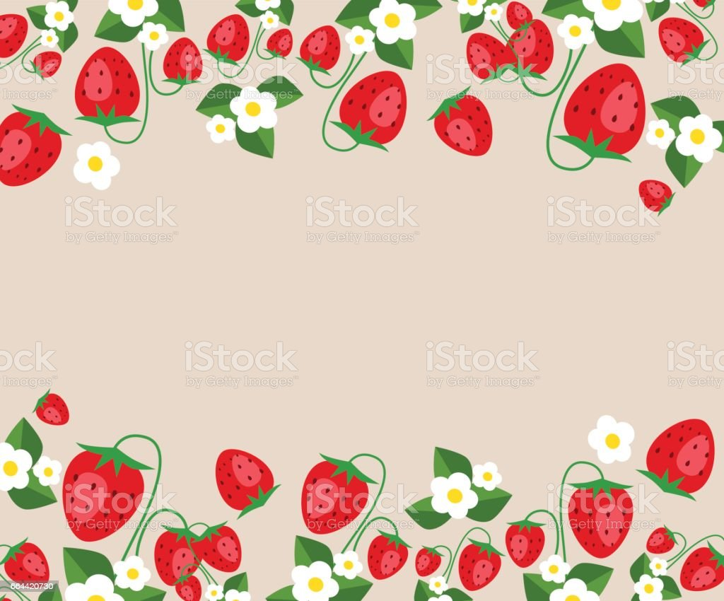 Frame template with strawberries, leafs and flowers. Vector background vector art illustration