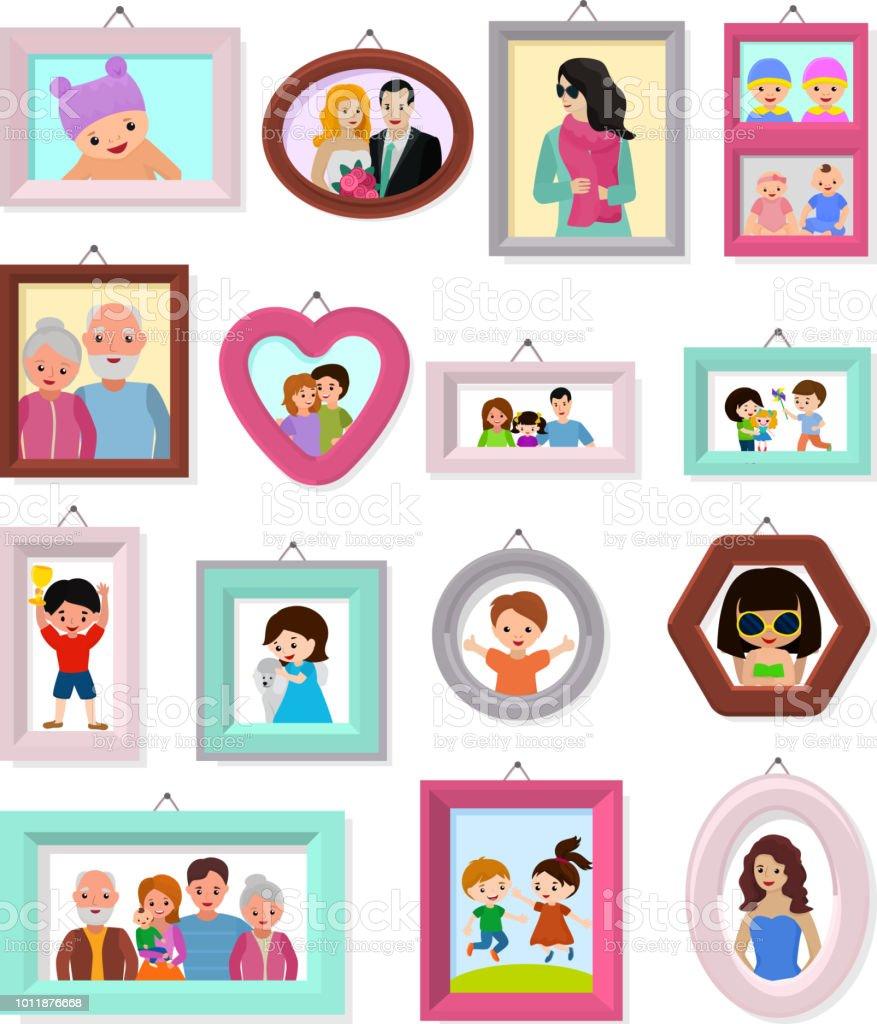 Frame Vektor Rahmung Oder Familie Foto Für Wand Dekoration Abbildung ...