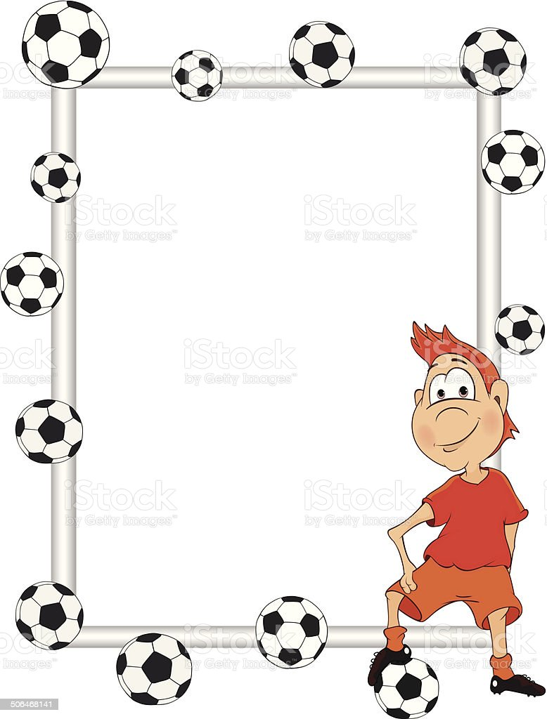 Frame With A Soccer Player Cartoon Stock Vector Art & More Images of ...