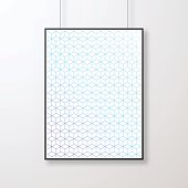 Realistic frame in vertical position and with an abstract geometric background (Blue and purple pattern, geometric background with cube shape), isolated on white background.