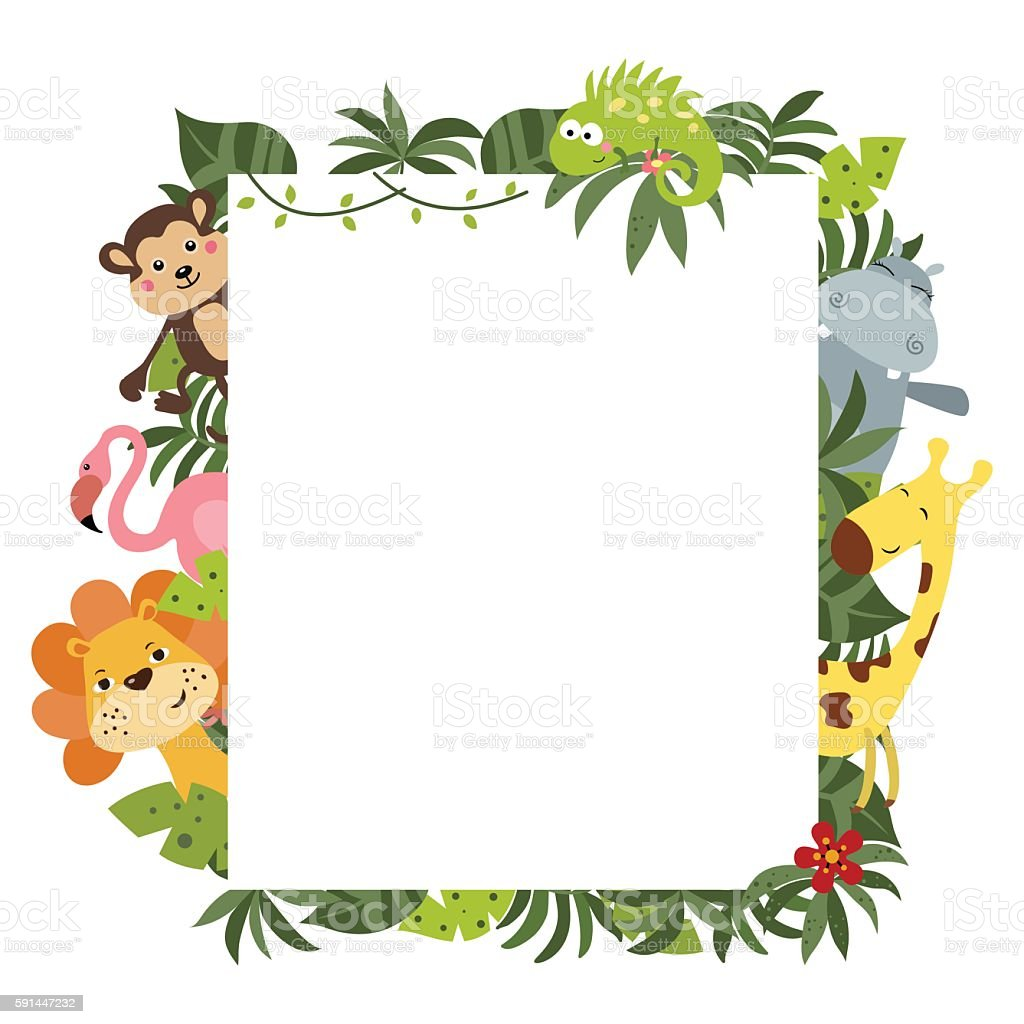 Frame with African animals vector art illustration