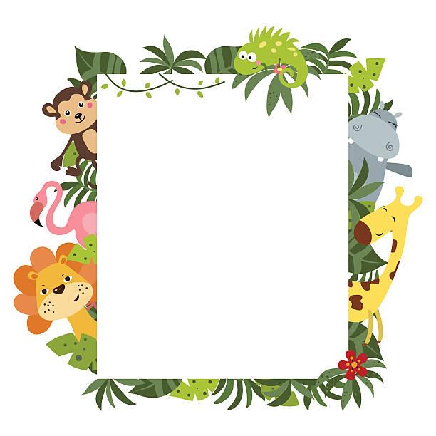 frame with african animals - 動物園点のイラスト素材/クリップアート素材/マンガ素材/アイコン素材