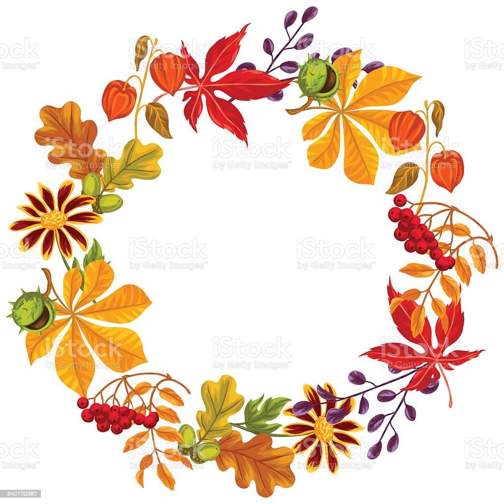 Marco de hojas de oto o y las plantas dise o de folletos - Marcos para plantas ...