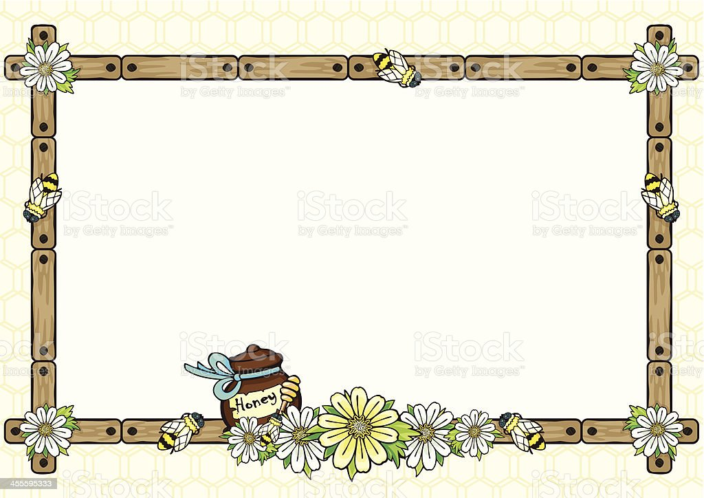 Frame with bees and flowers. royalty-free stock vector art