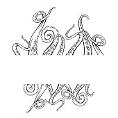 istock Frame with black and white sketches octopus tentacles and place for text. Creepy limbs of marine inhabitants. Vector template 1265900666