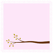 Frame with blossoming tree branche for greeting, invitation, wed