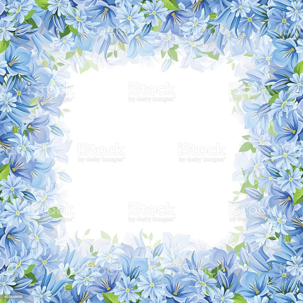 Frame with blue flowers. Vector illustration. ベクターアートイラスト