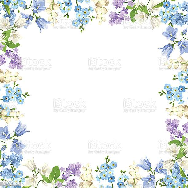 Frame with blue purple and white flowers vector illustration vector id517501828?b=1&k=6&m=517501828&s=612x612&h=rfcd2caqkebtf 6aqxyllpztaxgbfewpyg81rsqqzzq=
