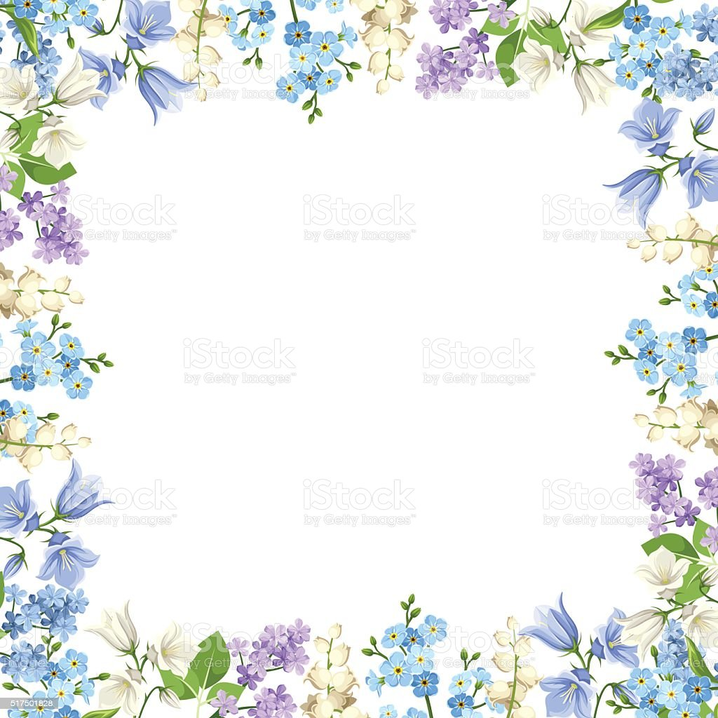 フレーム、ブルー、パープルとホワイトの花があしらわれています。ベクトルイラストレーションます。 ベクターアートイラスト