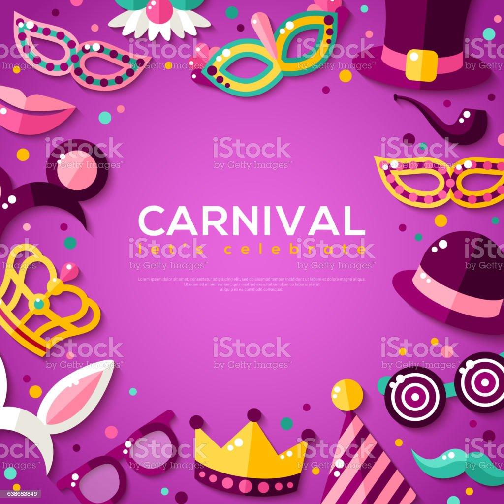 Frame with Carnival Masks on Purple Background vector art illustration