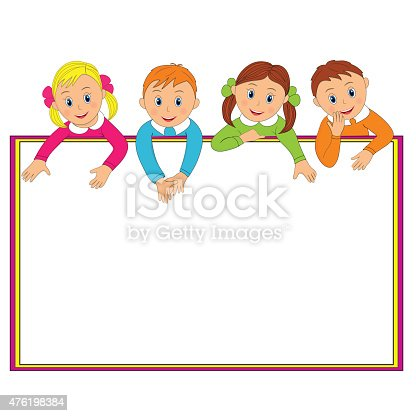 Frame With Children Stock Vector Art & More Images of 2015 476198384 ...