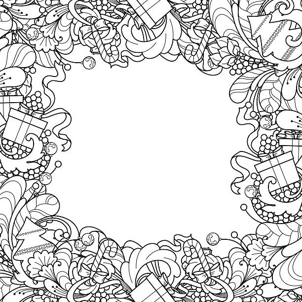 Frame with Christmas tree, gift box, bells in doodle styl Christmas frame with Christmas tree, gift box, bells in doodle style. Floral, ornate, decorative, tribal design elements. Black and white background.  coloring book page mistery stock illustrations