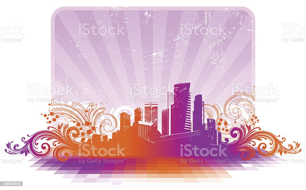 Frame with cityscape and floral elements royalty-free stock vector art