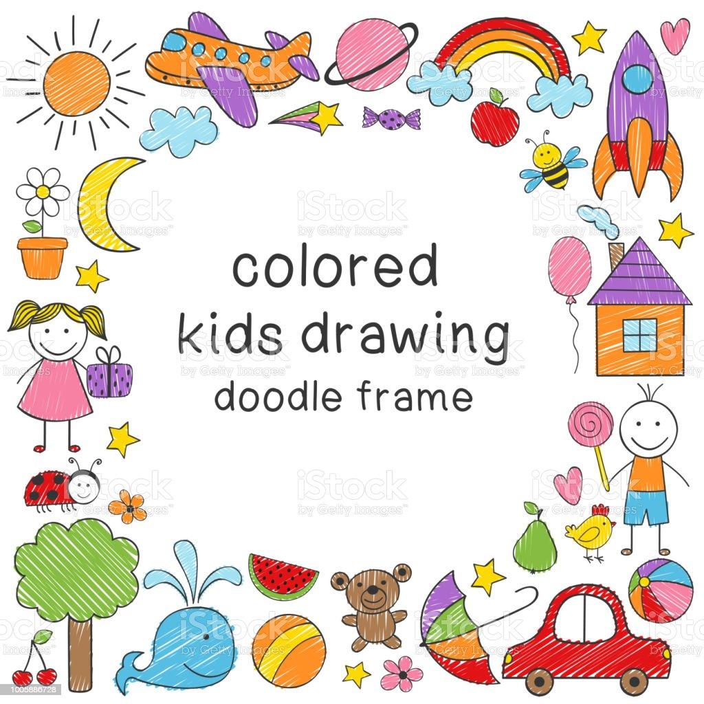 Rahmen Mit Farbigen Kinder Zeichnung Stock Vektor Art und mehr ...