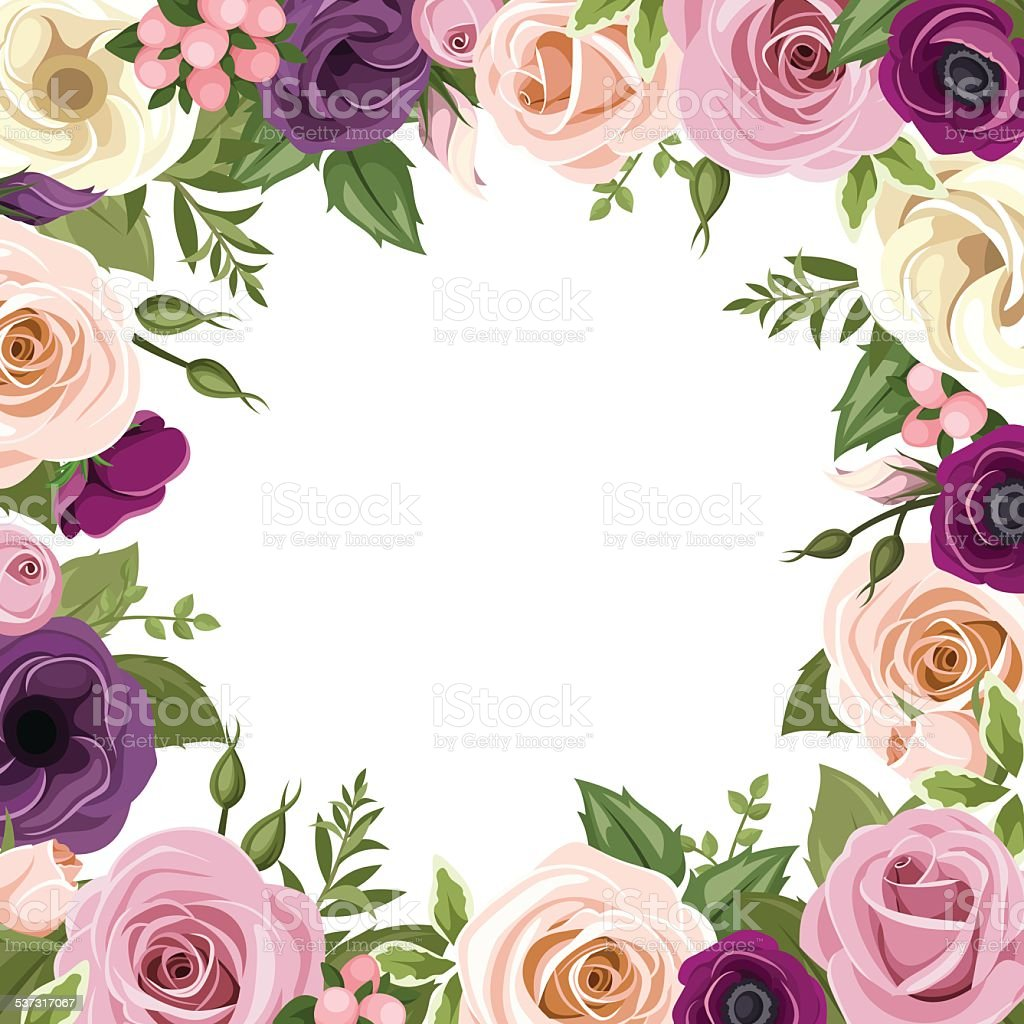 Frame with colorful roses and lisianthus flowers vector illustration frame with colorful roses and lisianthus flowers vector illustration royalty free frame with thecheapjerseys Choice Image