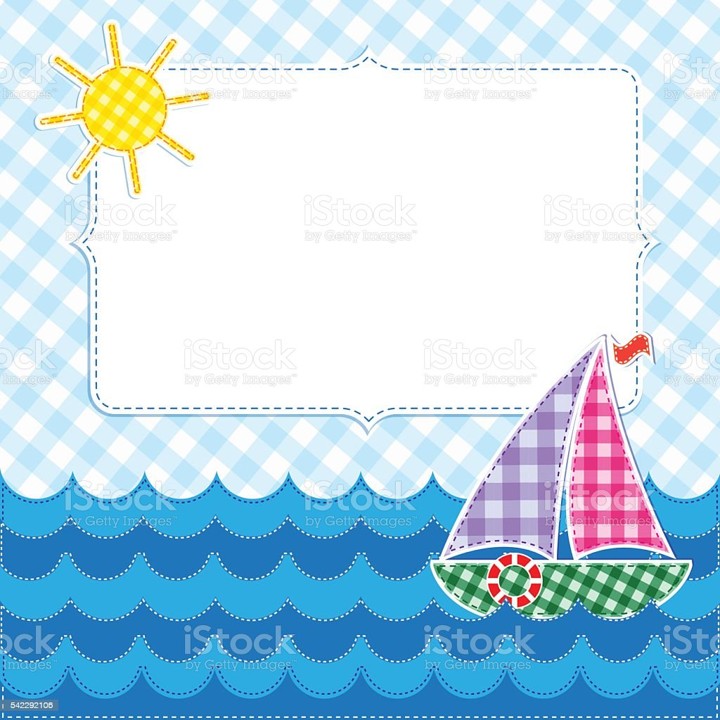 frame with colorful sailboat stock vector art 542292106 istock