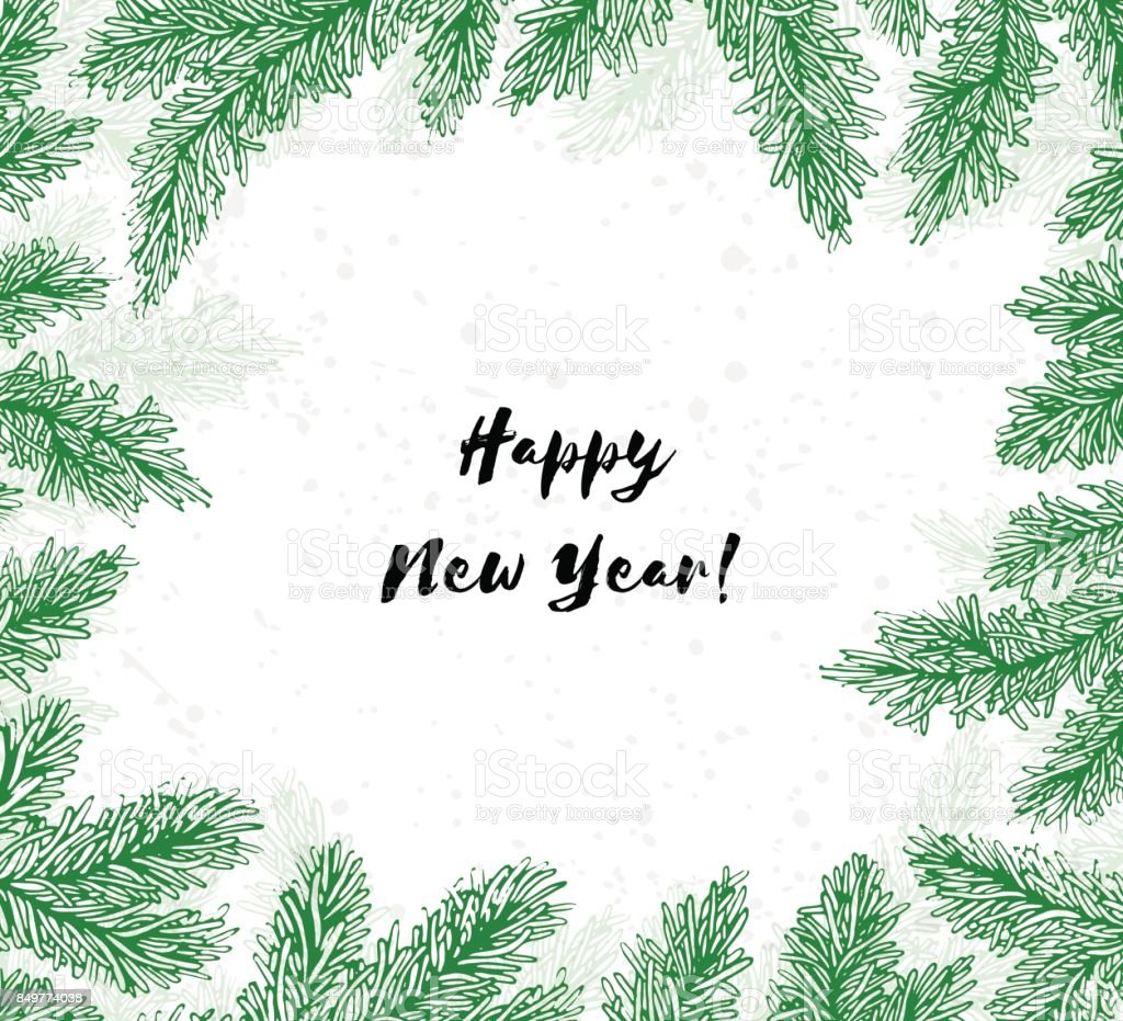 Frame Met Naaldbossen Takken En Tekst Met Happy New Year Winter