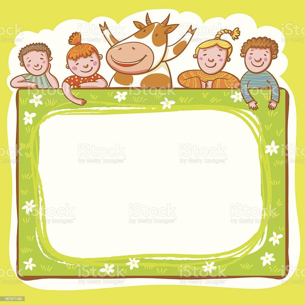 Frame With Cow And Kids. royalty-free stock vector art