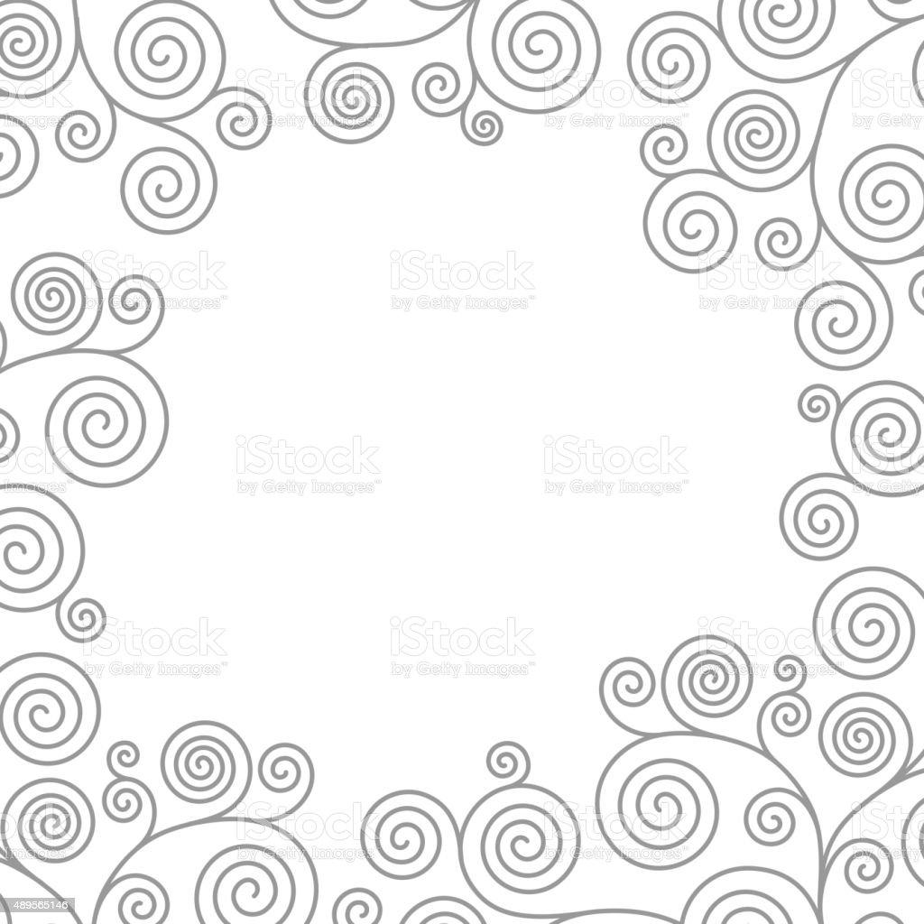 Frame with curvy spirals vector art illustration