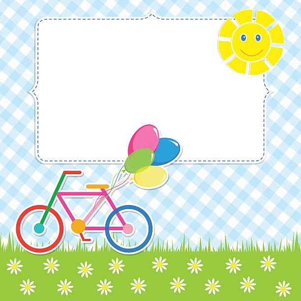 rahmen mit niedlich fahrrad - lustige fahrrad stock-grafiken, -clipart, -cartoons und -symbole