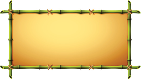 A frame with do picture made out of bamboo