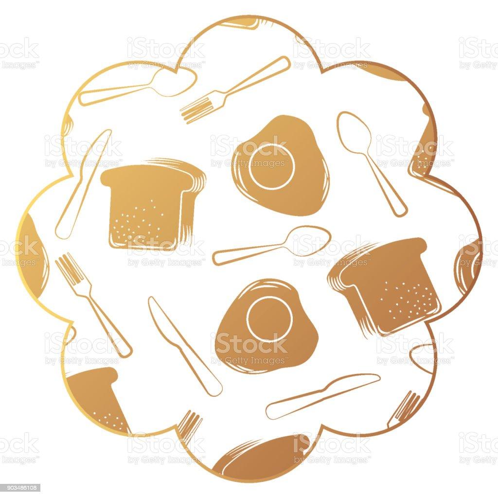 Rahmen Mit Eiern Und Besteck Muster Hintergrund Vektor Illustration ...