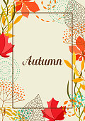 Frame with falling leaves. Natural illustration of autumn foliage.